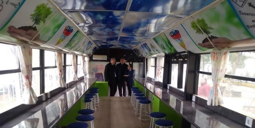 Hurda otobüsten enerji atölyesi