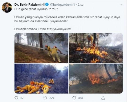 Pakdemirli: Ormanlarımızda ateş yakmayalım